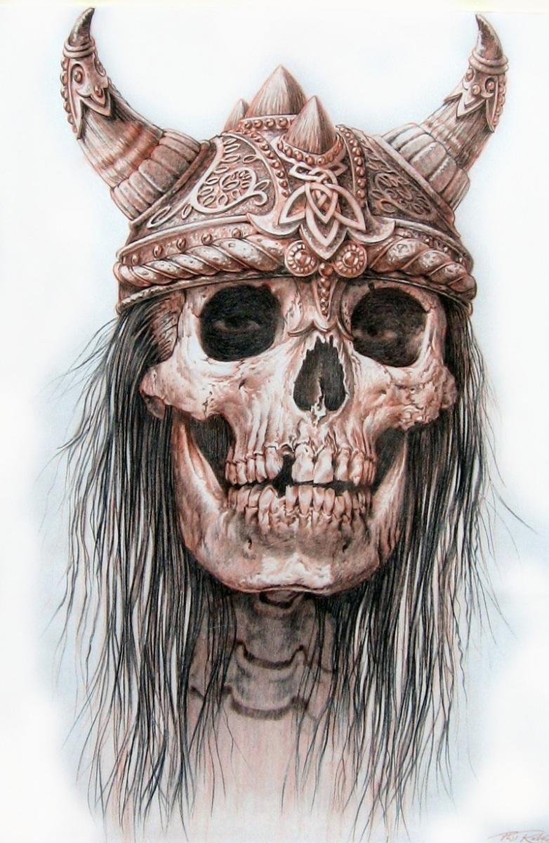 Billabong Art Viking Skull Tee Shirt Design By Phil