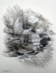 Ship Skull Art - Tee shirt design for Billabong by Phil Roberts