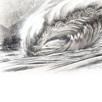 Wave crashing Tee shirt design for Billabong by Phil Roberts