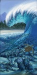 sea turtle, underwater reef, surf art painting, wave, barrel surf art by Phil Roberts