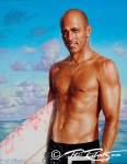 Phil Roberts painting of Surf Star Kelly Slater for Ultimate Wave Tahiti Movie Poster