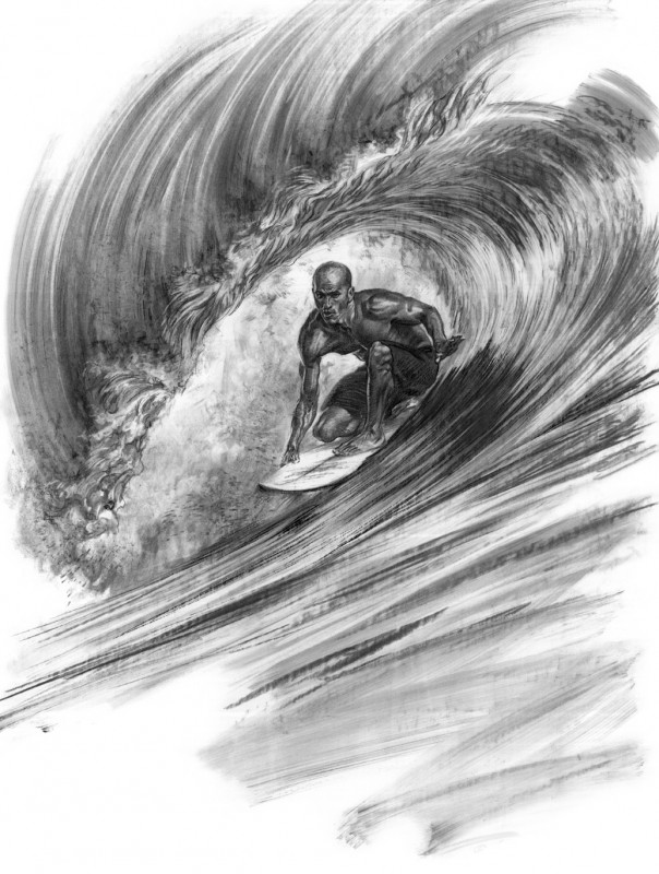 how to draw someone surfing