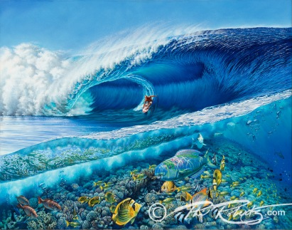 Kelly Slater at Teahupoo, Tahiti - Ultimate Wave Tahiti Movie Poster Painting by Phil Roberts
