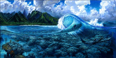 Teahupoo Tahiti Oil Painting by Phil Roberts