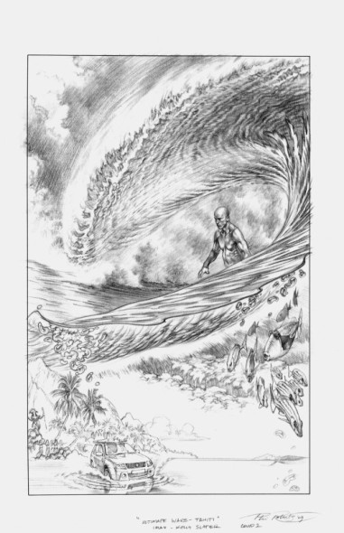 Ulitmate Wave Tahiti Movie Poster Composition Sketch by Phil Roberts