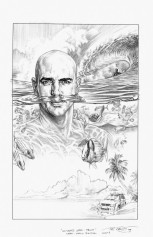 Movie Poster Sketch of Kelly Slater for Ultimate Wave Tahiti by Phil Roberts