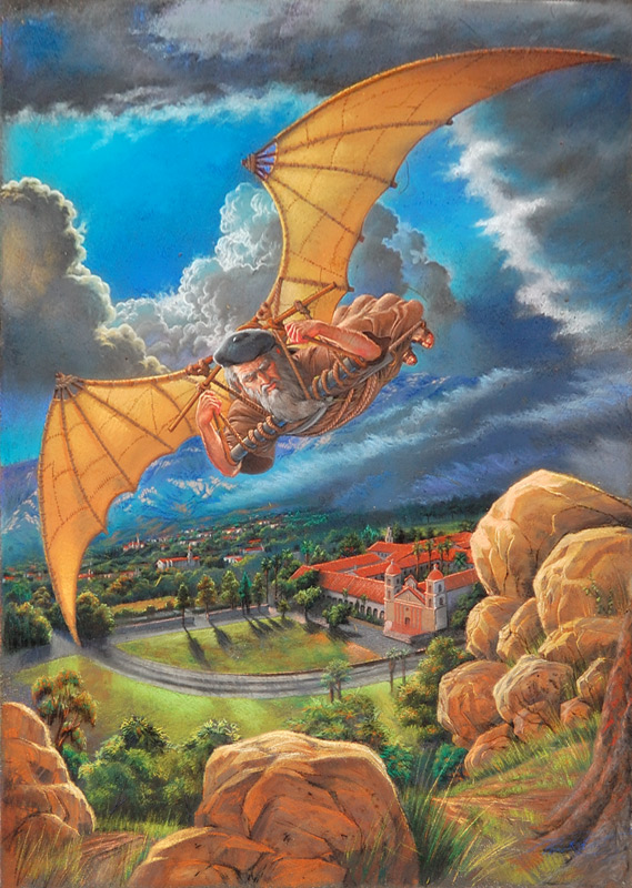 Phil Roberts pastel painting of Leonardo DaVinci flying over Santa Barbara