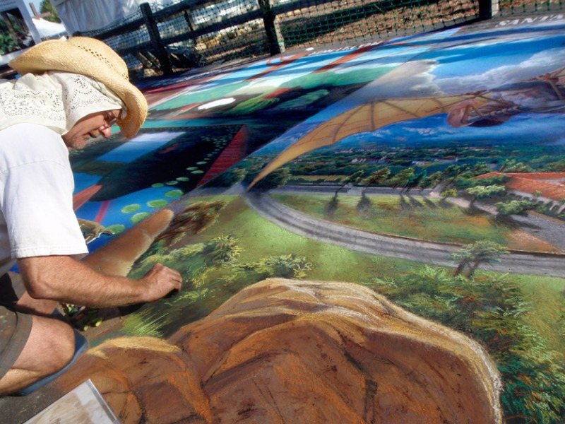 Phil Roberts Pastel Painting at I Madonnari festival