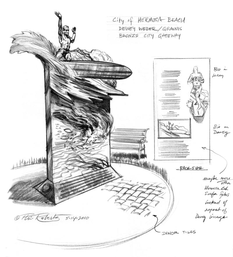 Dewey Weber Bronze Sculpture Sketch by Phil Roberts