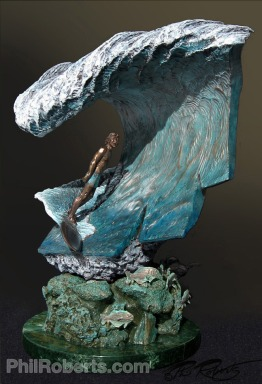Pipeline Masters Trophy - Phil Roberts bronze sculpture pipe mastersSculpture