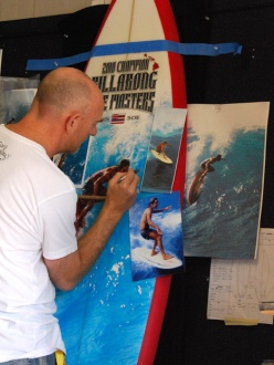 Phil Roberts Painting the Pipeline Masters Surf Board Trophy
