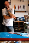 Phil Roberts working on the Pipeline Masters Surf Board Trophy