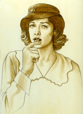 Actress in Hat Cradle Will Rock Movie art by Phil Roberts