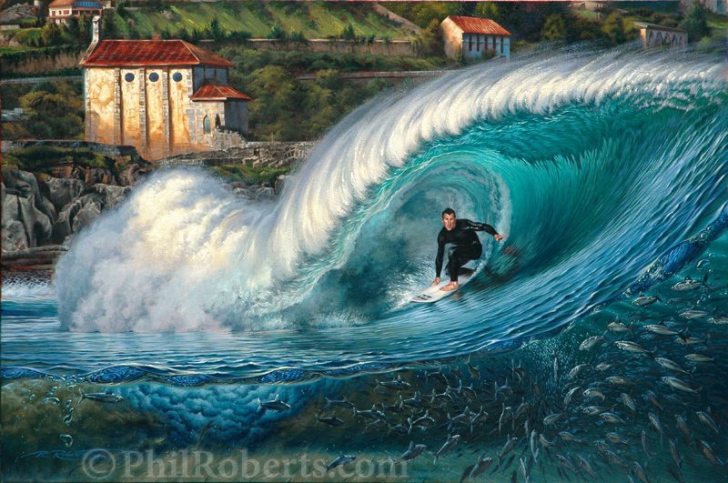 Painting for the Billabong Pro Mundaka Spain Surf Event of Joel Parkinson by Phil Roberts
