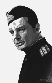 Liam Neeson Original watercolor painting by Movie Poster Illustrator Phil Roberts