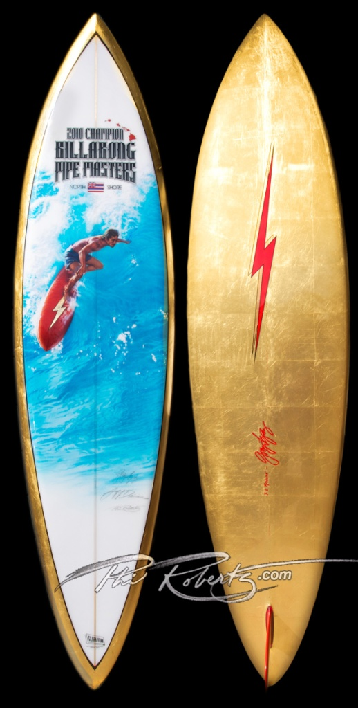 Golden Surf Board Trophy by Phil Roberts for the '10 Pipeline Masters