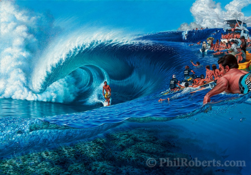 Painting for the Billabong Pro Event at Teahupoo of Andy Irons by Phil Roberts