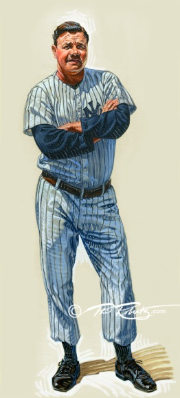 """Full Figure Babe Ruth """"The Bambino"""" Painting by Sports Artist Phil Roberts"""