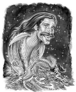 Dale Whale life of pie caricature portrait drawing phil roberts
