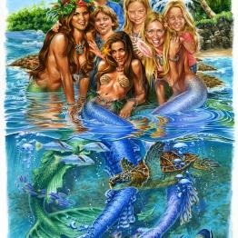 family portrait mermaid portraits watercolor art surf artist phil roberts