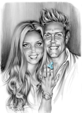 Wedding Engagement & baby announcement portrait sketch by Phil Roberts
