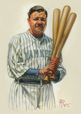 Babe Ruth Portrait Oil Painting by Phil Roberts