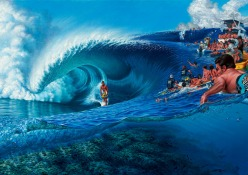 BillaBong Andy Irons @ Teahupoo Art Print by Phil Roberts