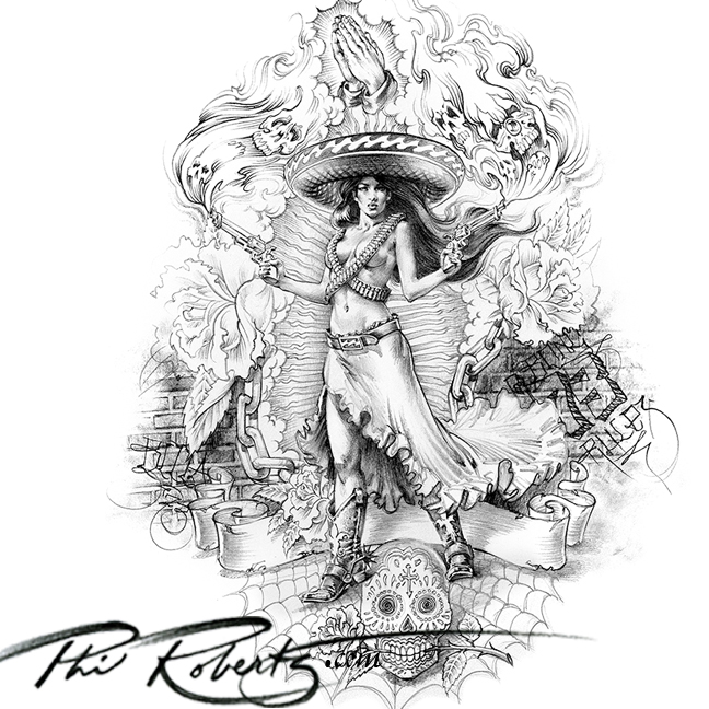 Billabong Art Mexican Girl Adelita Phil Roberts