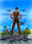 Original Crocodile Dundee II Movie Poster composition Painting by Phil Roberts