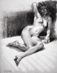 Original Charcoal Figure Drawing 4-27 Drawing by Phil Roberts