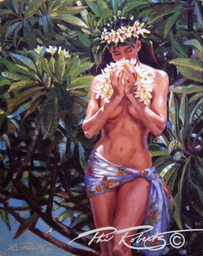 Hula girl with plumeria island flowers, palms by surf artist Phil Roberts