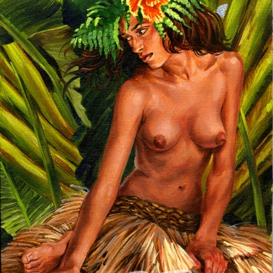 Hula dancer girl grass skirt in the shade of island palms by Phil Roberts