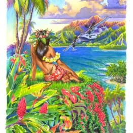 Hawaiian Hula dancer painting, hula girl art by Phil Roberts