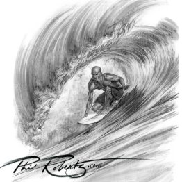 Kelly Slater surfing charcoal drawing by Phil Roberts
