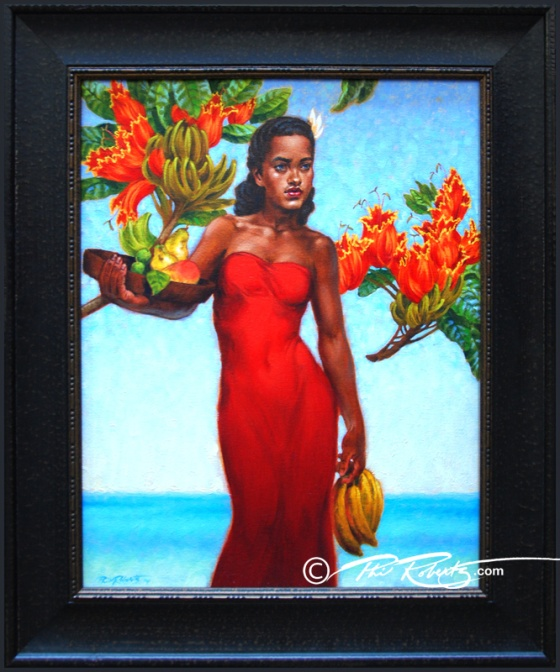 hula girl in red original oil painting by phil roberts
