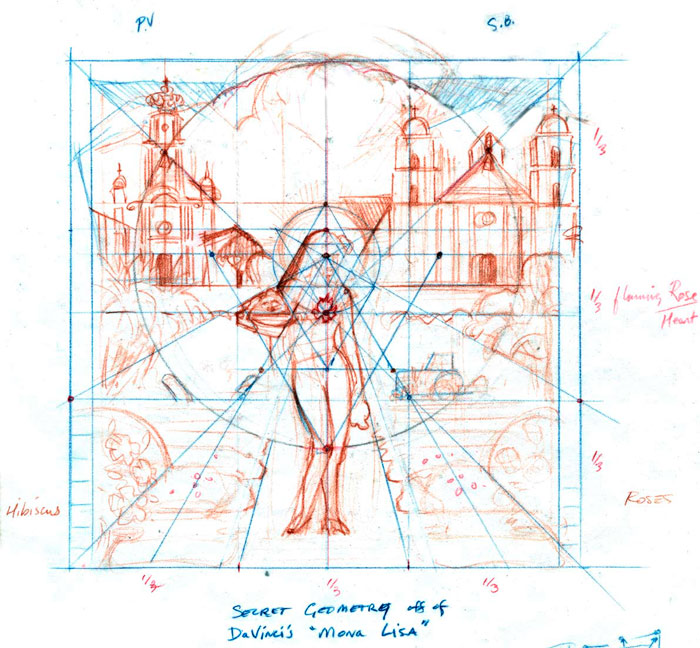 I Madonnari Sketch layout using secret geometry of the Mona Lisa