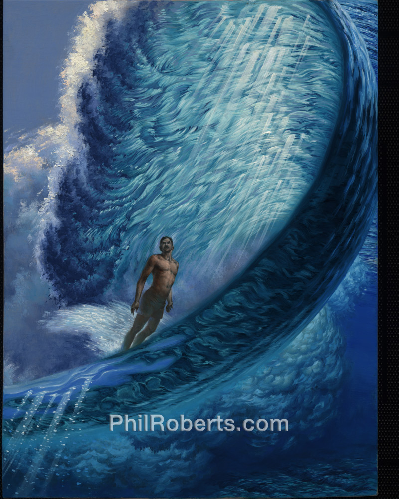 Framed Gerry surfing Pipeline Painting | Phil Roberts Art