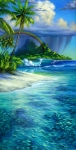 Surf art Tahitian Paradise painting - fine art giclee on canvas by Phil Roberts