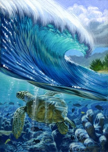 Turtle Reef surf art painting By Phil Roberts
