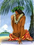 Tahitian turtle tattoo palm tree view hula dancer painting by Phil Roberts