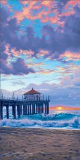 Original acrylic painting, winter sunset, beach sunset at manhattan beach painting by Phil Roberts