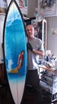 Surfboard of Gerry Lopez for Sacred craft Art Board by Phil Roberts