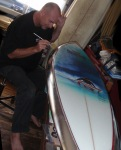 Phil Roberts Silver Leafing the Pipe masters surfboard trophy
