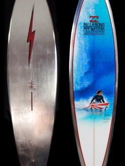 Phil Roberts painted Andy Irons 2011 Pipe Masters SurfBoard Trophy