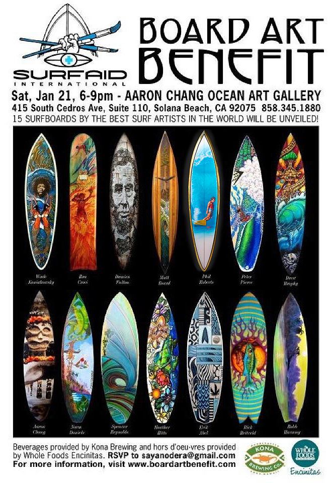 Board Art Benefit SurfAid Surfboard Auction 1-21-12 Featuring top surf artist Phil Roberts