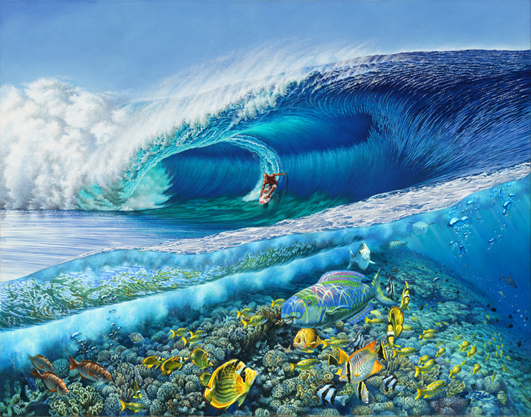 Kelly Slater surfing Teahupoo Tahiti Surf Art by Phil Roberts