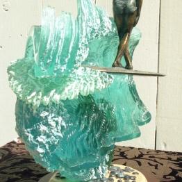 Girl Surfer X step bronze & resin sculpture