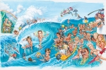 Illustration of Kelly Slater & Pro surfers at Teahupoo by Phil Roberts