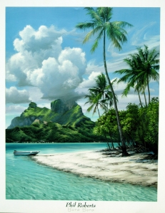 tahiti island painting surf art of Bora Bora by artist Phil Roberts