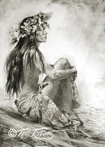 hula girl island art, black & white, charcoal drawing by Phil Roberts